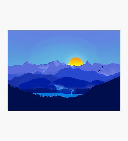 Blue Flat Landscape Mountains Photographic Print