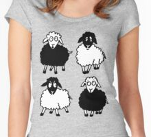 New Zealand four cartoon sheeps having a chat Women's Fitted Scoop T-Shirt
