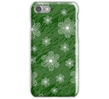 seamless pattern with flowers on a green background grunge iPhone Case/Skin