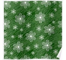 seamless pattern with flowers on a green background grunge Poster