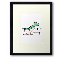 T-Rex Makes the Bed Framed Print