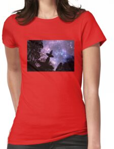 Silhouette of fountain at Princes Square Launceston Tasmania Womens Fitted T-Shirt