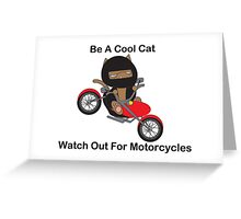 Motorcycle Biker Cat Greeting Card