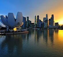 Marina Bay, Singapore at sunset (2) by Ralph de Zilva