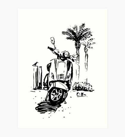 Vespa in the beach Art Print