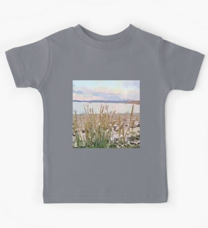 water color,hand painted, landscape,beach and ocean, beautiful,modern, Kids Tee