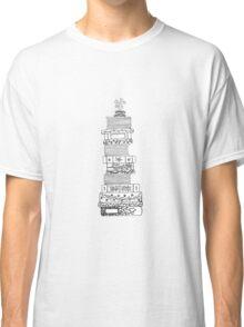 Black and White Filigree Bookstack Classic T-Shirt