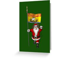 Santa Claus With Flag Of New Brunswick Greeting Card
