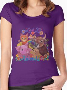 Love all Animals  Women's Fitted Scoop T-Shirt