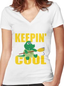 KEEPIN' COOL Women's Fitted V-Neck T-Shirt