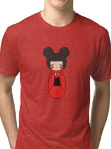 kokeshi. japanese traditional doll. doodle illustration Tri-blend T-Shirt