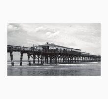 Daytona Beach Boardwalk Pier in a Black and White Photo One Piece - Short Sleeve