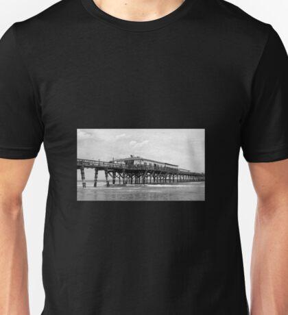 Daytona Beach Boardwalk Pier in a Black and White Photo Unisex T-Shirt