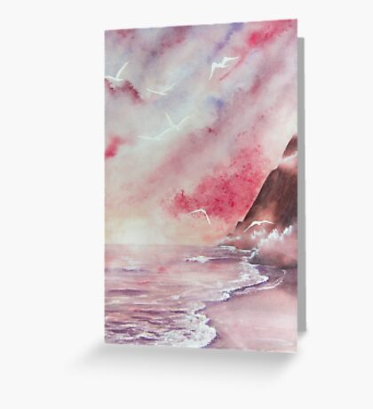 At the Beach - Watercolor Greeting Card