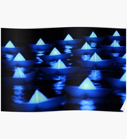Blue paper boats  Poster