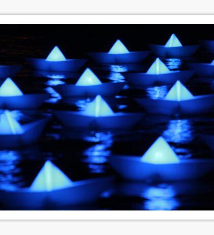 Blue paper boats  Sticker