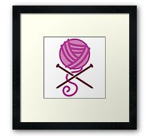 Knitter ball of wool pirate knitter crossbones (purple) Framed Print