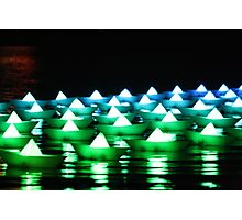 Green/Blue Paper Boats  Photographic Print