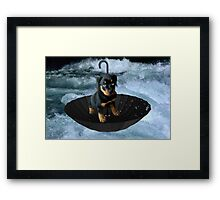 UM..HOW HIGHS THE WATER MAMA ?? ROTHWEILER PUPPY IN UMBRELLA ON WATER > PICTURE AND OR CARD Framed Print