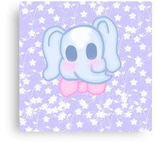 Kawaii Elephant in a bow  Canvas Print