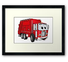 Red Smiling Garbage Truck Cartoon Framed Print