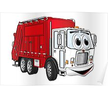 Red White Smiling Garbage Truck Cartoon Poster