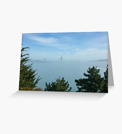 San Francisco Fog - Golden Gate Bridge Framed by Treetops Greeting Card