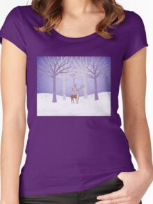 Deer - Squirrel - Winter - Snow - Forest Women's Fitted Scoop T-Shirt