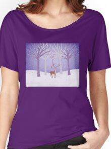 Deer - Squirrel - Winter - Snow - Forest T-shirt femme coupe relax