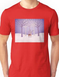 Deer - Squirrel - Winter - Snow - Forest Unisex T-Shirt