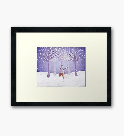 Deer - Squirrel - Winter - Snow - Forest Framed Print