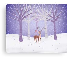 Deer - Squirrel - Winter - Snow - Forest Canvas Print