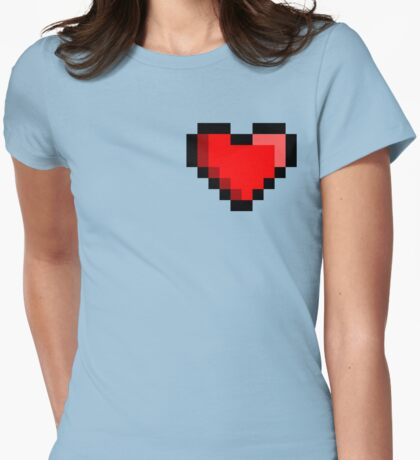 Pixel Retro Gamer Heart Womens Fitted T-Shirt