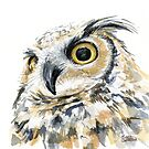 Great Horned Owl Watercolor by Olga Shvartsur