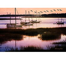 Boats at Anchor~ Evening Tranquility Photographic Print