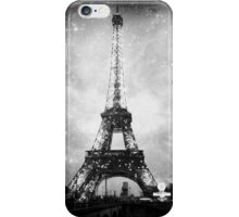 Eifffel Tower, Starry Night, Black and White iPhone Case/Skin