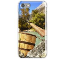 A Wooden Yoke On The River in Alps iPhone Case/Skin
