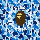 a bathing ape camo blue round text by josehouse