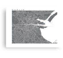 Dublin Map (Grey) Canvas Print