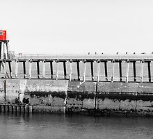 Scenic view of Whitby Pier in black and white by Stanciuc