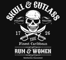 One Eyed Pirate Skull & Cutlasses Vintage Tavern Sign by TropicalToad