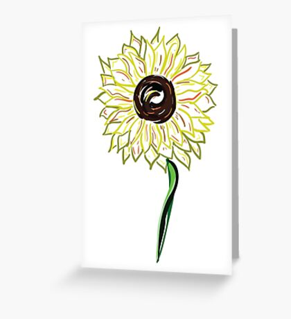 Twisted Painted Sunflower  Greeting Card