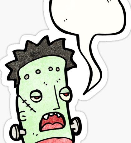 funny frankenstein monster head cartoon Sticker