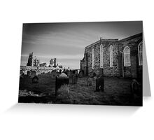 Whitby Abbey and cemetery during the night in North Yorkshire,UK. Greeting Card