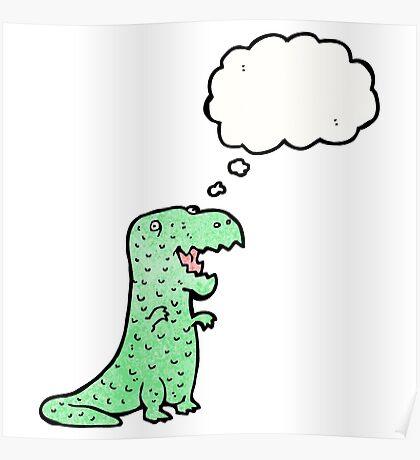 cartoon friendly dinosaur Poster