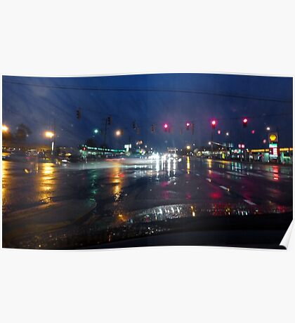 RT 2 and Limestone Rd on a rainy Friday evening Poster