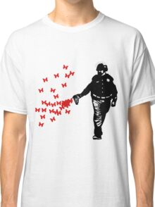 Police - Street Art Pepper Spray Cop Butterfly Art Shirts For Men Classic T-Shirt