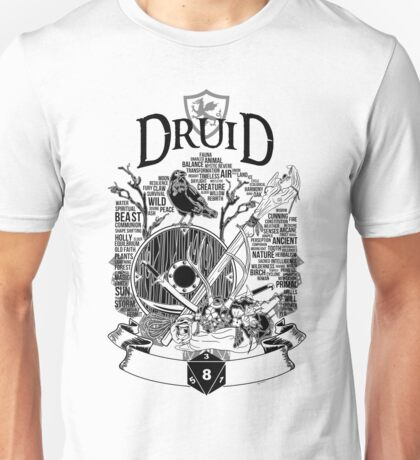 RPG Class Series: Druid - Black Version Unisex T-Shirt