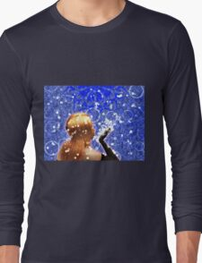 Blond girl is blowing snowflakes Long Sleeve T-Shirt