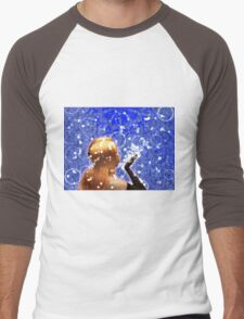 Blond girl is blowing snowflakes Men's Baseball ¾ T-Shirt